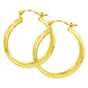 18K Gold Layered Double Leaf Etching Design Hoop Earrings (32mm Diameter)