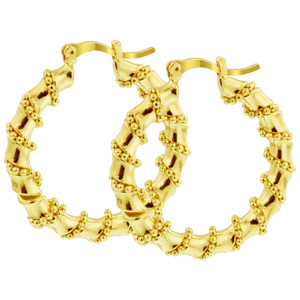 18K Gold Coral Shape Hoop Earrings in Ball Chain