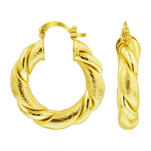 18K Gold Layered Wide Semicircle Polished Simple Hoop Earrings (32mm Diameter)