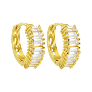 18K Gold Layered 14mm Huggies Baguette CZ Earrings (28mm Diameter)
