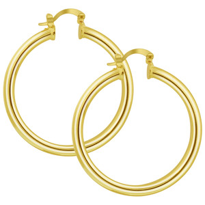 18K Gold Layered Brushed & Polished Metal Hoop Earrings (41mm Diameter)