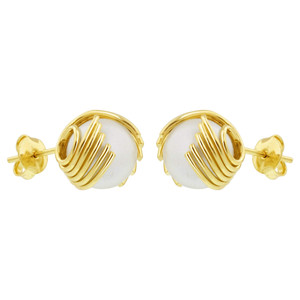 18K Gold Simulated Faux Pearl Stud Earrings