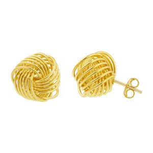 18K Gold Infinite Knot Stud Earrings