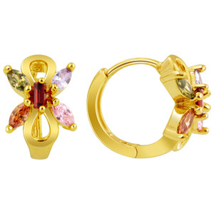 18K Gold Butterfly CZ Huggies Earrings