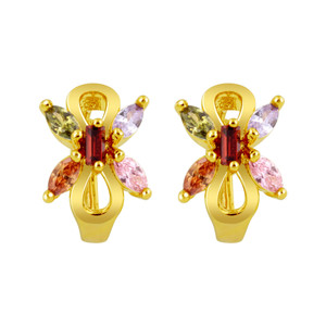 18K Gold Layered Butterfly CZ Huggies Earrings For Women