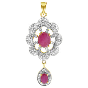 Gold Tone Ruby & Crystal Jewelry Set