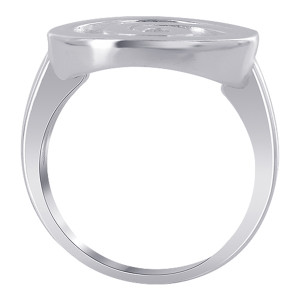 925 Sterling Silver 17mm Round Design with Swirl Ring