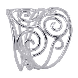 925 Sterling Silver 19mm wide Multiple Swirls Design Ring
