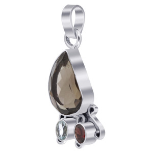 Sterling Silver Smokey Quartz Garnet & Blue Topaz Gemstone Pendant