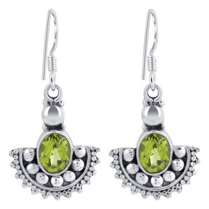 Sterling Silver Oval Shape Genuine Peridot Drop Earrings