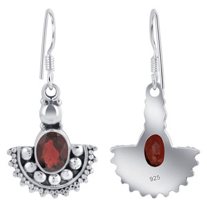 925 Silver Oval Shape Genuine Garnet Drop Earrings