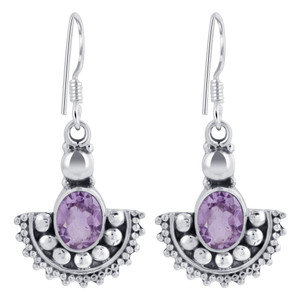 Sterling Silver Oval Shape Genuine Amethyst Drop Earrings
