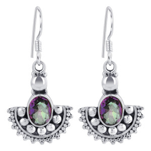 Sterling Silver Oval Shape Genuine Mystic Fire Topaz Drop Earrings