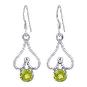 925 Sterling Silver Genuine Peridot Drop Earrings