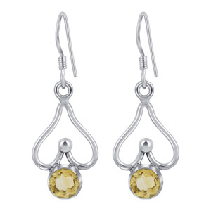 925 Sterling Silver Round Shape Citrine Drop Earrings