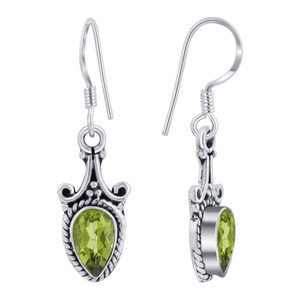 Sterling Silver Bali Style Pear Shape Drop Earrings
