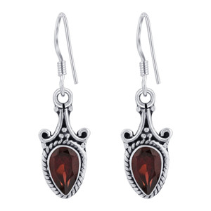 925 Silver Pear Shape Drop Earrings
