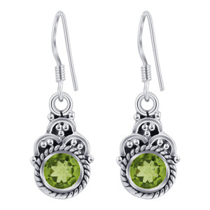 925 Silver Genuine Peridot Drop Earrings