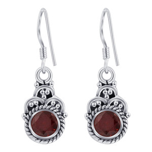 Sterling Silver Dark Red Genuine Garnet Drop Earrings