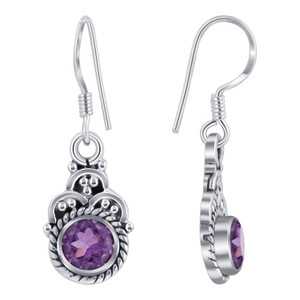 Sterling Silver Genuine Amethyst Drop Earrings