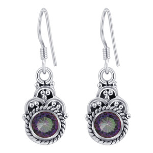 925 Silver Genuine Mystic Topaz Drop Earrings