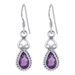 Sterling Silver Genuine Purple Amethyst Drop Earrings