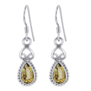 Sterling Silver Genuine Yellow Citrine Drop Earrings