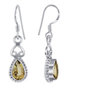 925 Silver Genuine Yellow Citrine Drop Earrings