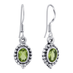 Sterling Silver Genuine Green Peridot Drop Earrings