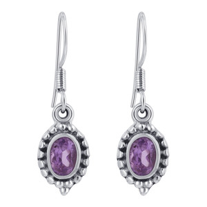 925 Silver Purple Amethyst French Hook Drop Earrings