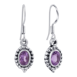 Sterling Silver Purple Amethyst French Hook Drop Earrings