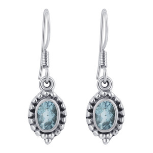 Sterling Silver Genuine Blue Topaz Drop Earrings