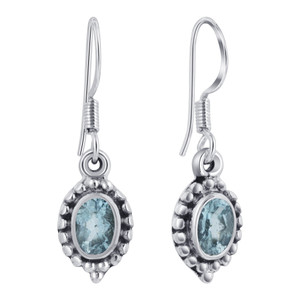 925 Silver Genuine Blue Topaz Drop Earrings