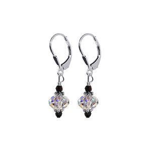 925 Silver Clear Crystal Earrings Made with Swarovski Elements