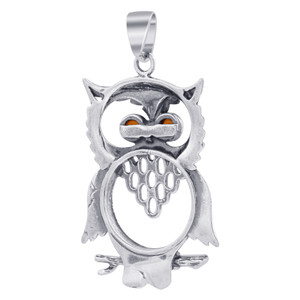 925 Silver Large Horned Owl Amber Pendant