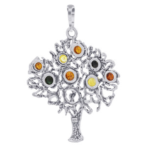 925 Silver Intricate Fruit Tree Multicolor Amber Pendant