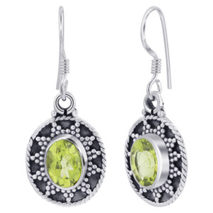 925 Silver Bali Design Oval Peridot Gemstone Earrings