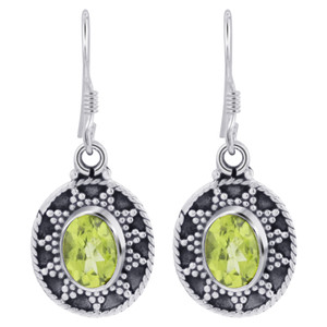 925 Silver Oval Peridot Gemstone Earrings