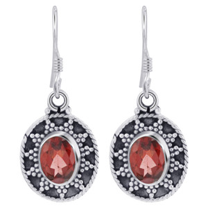 925 Silver Bali Design Oval Garnet Gemstone Earrings