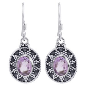 925 Silver Oval Amethyst Gemstone Earrings
