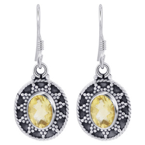 925 Silver Oval Citrine Gemstone Earrings