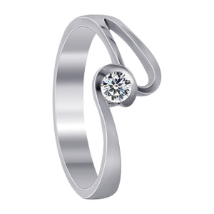 925 Sterling Silver Swirl with 3mm Cubic Zirconia Ring