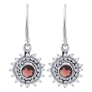 925 Silver Flower Garnet Gemstone Drop Earrings