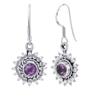 Sterling Silver flower Amethyst Gemstone Drop Earrings