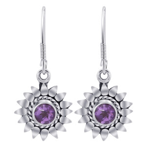 Sterling Silver Bali Design flower Amethyst Gemstone Drop Earrings