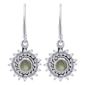 Sterling Silver flower Labradorite Gemstone Drop Earrings