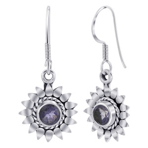 Sterling Silver flower Tanzanite Gemstone Drop Earrings