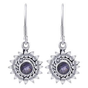 Sterling Silver Bali Design flower Tanzanite Gemstone Drop Earrings