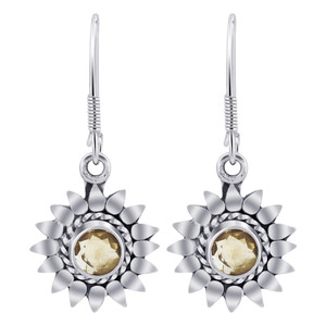 Sterling Silver Bali Design flower Citrine Gemstone Drop Earrings