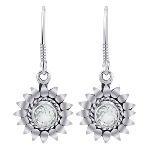 Sterling Silver Bali Design flower Genuine Blue Topaz Gemstone Drop Earrings
